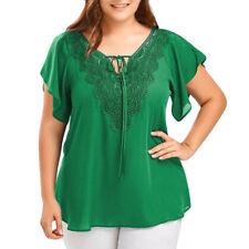 Women Plus Size Summer Blouse Tops Ladies Short Sleeve Curve Appeal Lace T-shirt Blue 3xl