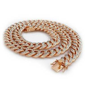 18K Rose Gold Bling Out Iced Lab Diamond Cuban Chain Link 13mm Miami Necklace