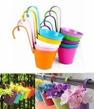 10Pack Metal Flower Pots Color Balcony Garden Wall Fence Hanging Plant Planter