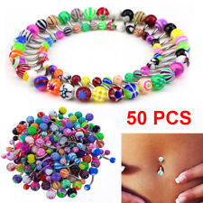 50Pcs Belly Button Navel Button Ring Bars Stain Steel Body Piercing Jewelry UK
