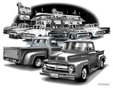 FORD TRUCK 53,54,55,56 MUSCLE CAR PICK-UP ART PRINT #2902