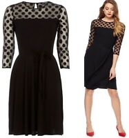 New Debenhams Black Spot Mesh Fit and Flare Black Evening Party Dress LBD 12-22