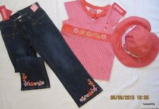 Gymboree Tea Graden Floral Pink Orange Top Shirt Denim Pants Jeans Hat 6 NWT New