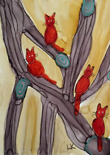 Aceo original painting orange cats climbing branches by Lynne Kohler