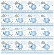 """Blue Baby Shower Umbrellaphants Roll of Gift Wrap 30"""" x 5'"""