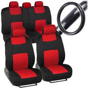 Sporty Full Set Red Car Seat Covers W/ Black Carbon Fab Steering Wheel Cover