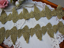metallic gold lace trim, gold crochet lace with beautiful leaves