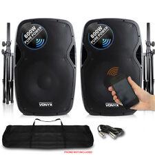 "Vonyx Active Powered DJ Disco PA Speakers Wireless Bluetooth 15"" Stands 1600W"