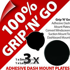 3 x 2 Pama Adhesive Dash Dashboard Plates Suction Cup Mobile Smart Phone Sat Nav