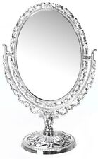 VANITY MIRROR ON FOOT OVAL SHAPE 31CM SILVER VINTAGE HANDHELD FREESTANDING