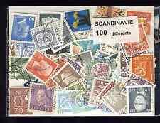 Scandinavie 100 timbres différents oblitérés tous pays