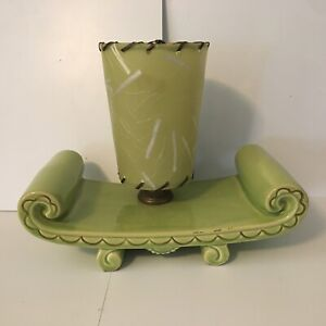 MCM 50's VTG Ceramic Lamp Torchiere Fiberglass Shade TV Vigon Chartreuse Green