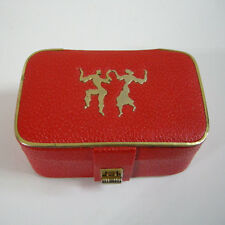 Vintage Israel 1950's Rosenfeld Red Leather Jewelry 2 levels Box w/ metal decor.