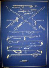 "Vintage Deep Sea Diver Spear Guns 1955 Blueprint Display Plan 16""x22"" (288)"