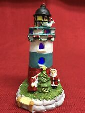 Decorative Lighthouse w/ Mr/Mrs Santa Clause Christmas Tree Figurine w/ LED