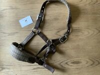 🤩 BROWN CHECK KNITTED HEADCOLLAR PONY SIZE 🤩