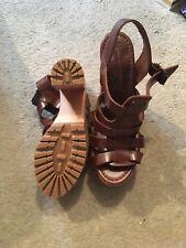 Zara Brown Gladiator block heels
