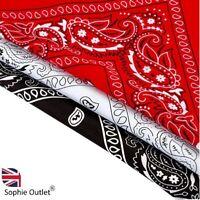 3 Pack 100% Cotton Paisley Bandana Scarf Scarves Headband  Black / White / Red
