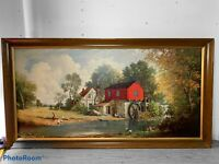 Windmill Painting By E.Thomas Lithograph