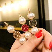 Fashion Women Pearl Hair Clip Elegant Crystal Geometric Snap Hairpin Accesso  JC