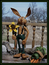 Prim Buster standing Bunny Rabbit Cabbage Carrot Sunflower Basket Paper Patten
