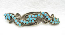 "Vintage ZUNI Turquoise Snake Eye Petit Point Sterling Silver 2 1/2"" Brooch Pin"