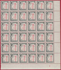 Rhodesia & Nyasaland 1959 1d block of 36 carmine-red & grey-black sg 19AB MNH