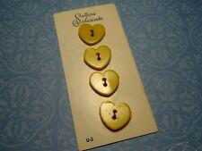 4 Vintage Yellow Heart Buttons 16mm Jewelry Craft Scrapbo Handbag Quilt Sew Knit