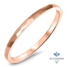 1.6mm Hammered Band/Ring in 14K SOLID Rose Gold