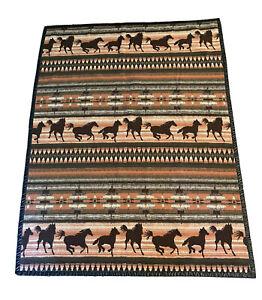 "Vintage RARE Woolrich Throw Blanket 50x68"" Wool Blend brown plaid Horse Aztec"