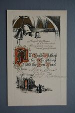 R&L Postcard: Christmas Greetings, BB BIrn Bros, Embossed Church Bell Design