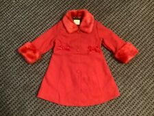 Children's Place red dressy coat long jacket velvet bows faux fur trim 4T