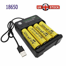 4X 18650 Battery 9800mAh 3.7V Li-ion Rechargeable Batteries with USB Charger UK
