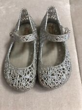 Girl Mini Melissa Silver Rubber Shoes Pumps US 8 Soft Flexible