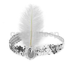 SILVER SEQUIN FEATHER HEADBAND 1920s FANCY DRESS CHARLESTON BROWBAND FLAPPER