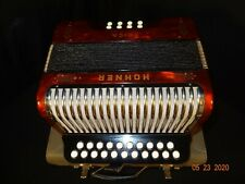 Nice Vintage Hohner Erica Accordion Squeezebox w/ Original Case Made in Germany