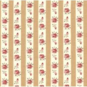 One Metre Antique Gold Striped Cream Pink Vintage Roses 100% Cotton Mask Fabric