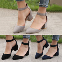 Women Casual Low Block Heels Sandals Ankle Strap Buckle Pointed Toe Formal Shoes