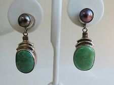 Green turquoise purple gray Tahitian Pearl sterling silver dangle VTG earrings