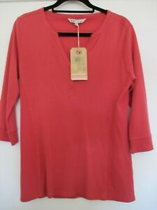New Fat Face Henley 3 Quarter Sleeve Tee Pink-Slate Rose Size 16 BNWT