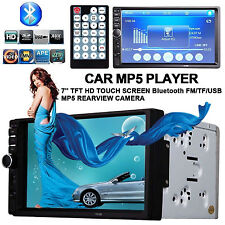 """7"""" Touch Double 2 DIN Bluetooth Car MP5 MP3 Player Headunit Radio Stereo AUX USB"""