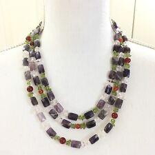 Amethyst, Peridot Crystal Agate Jade Gemstone Multi-Strand Necklace Earrings Set
