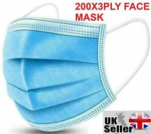 200 x Disposable Face Mask 3 PLY Disposable Face Mask