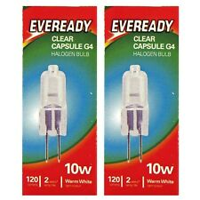2 x Eveready G4 Eco 10W Halogen Capsule Bulb 120 Lumens 12V Lamp