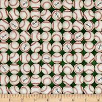 Grand Slam Baseballs Green 100% cotton fabric by the yard