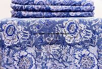Indian 100% Cotton Voile Fabric blue Multi Sewing 5 yard Hand Block Print Craft