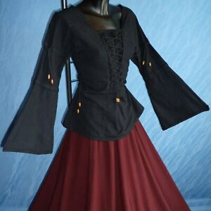 Long-sleeve Lace-up Blouse (Black, Natural, Red, Green, Blue) - 1220