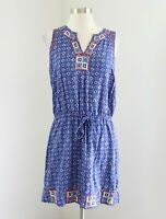 Lucky Brand Irving and Fine Blue Embroidered Sleeveless Dress Size S Geometric