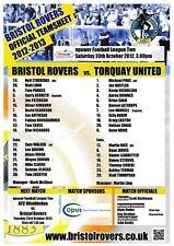 Teamsheet - Bristol Rovers v Torquay United 2012/13