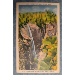 Vintage c1940s Linen Postcard: Hickory Nut Falls Chimney Rock Section Western NC